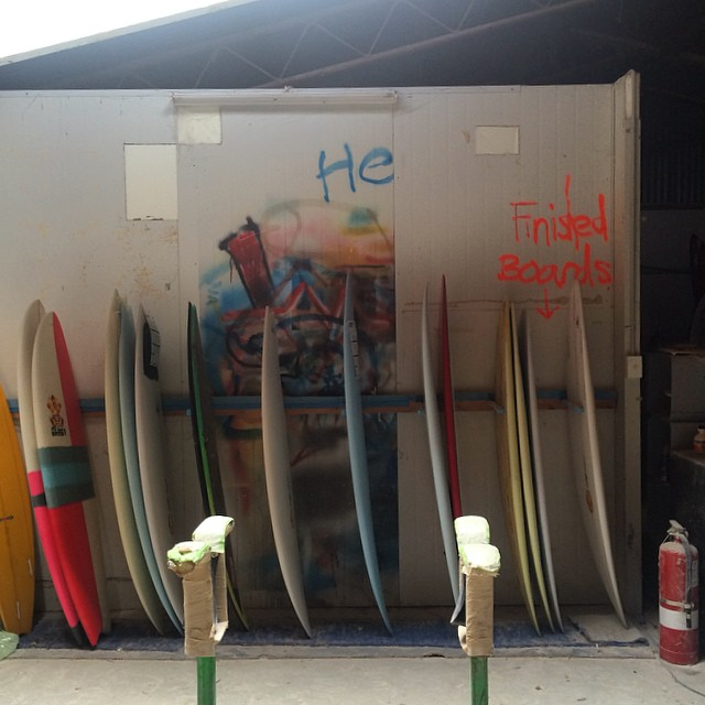 "Maurice Cole's shaping factory. At one point Mick stuck a board into my hands and said ""oh, here, this is the board Tom Curren won his third championship with..."" Oh, really? Sheesh... talk about an ""It Doesn't Not Work"" goldmine."