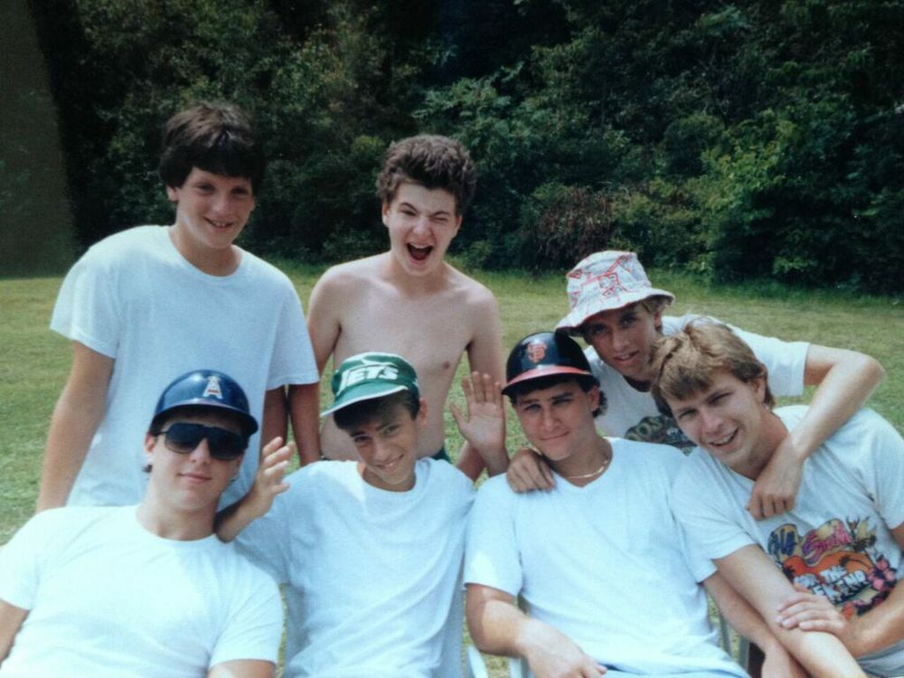 David Poritzky (1981-91) sent in this photo to the left from 1987: Back row—Judd Henry, Brett Moore, and Eric Diamond (with his signature hat); Front row-- Jimmy Moscou, JJ Shapiro, Brandt Josephson, and Randy Au. As demonstrated by Jimmy and Brandt, it was the era of the non-safety baseball helmet.