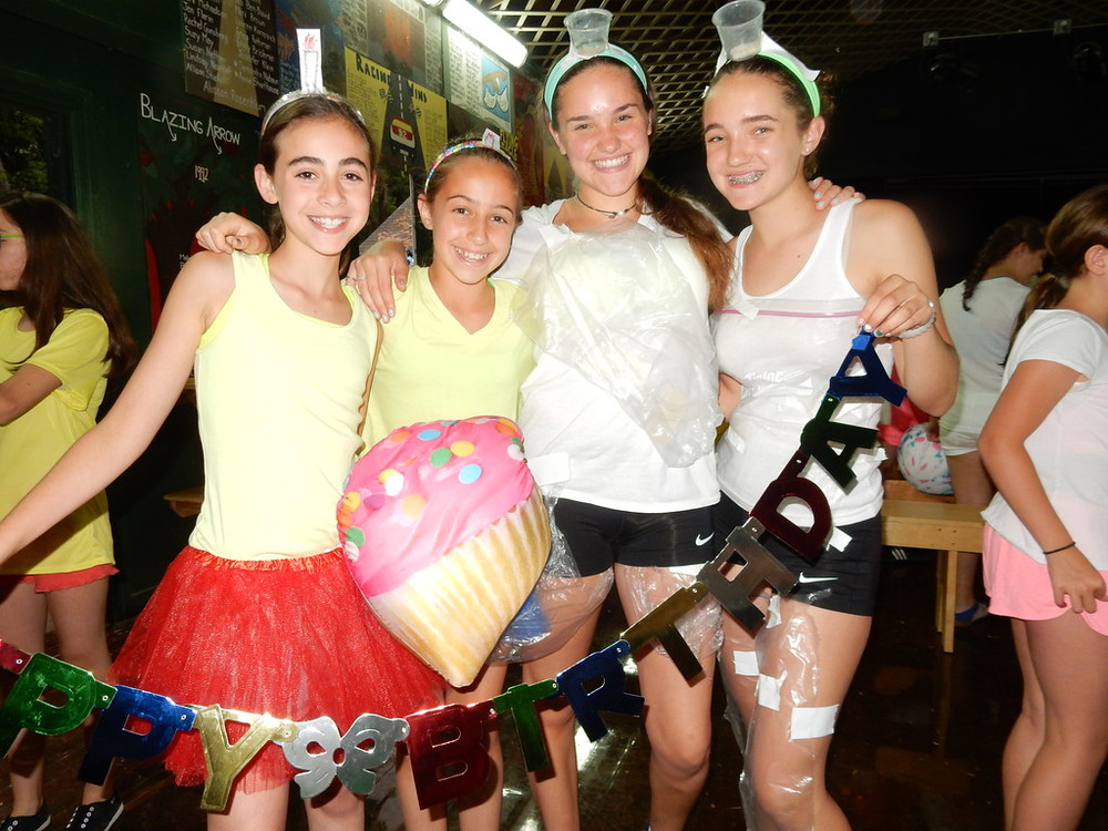 Girls dress up as a birthday during camp sister double trouble.