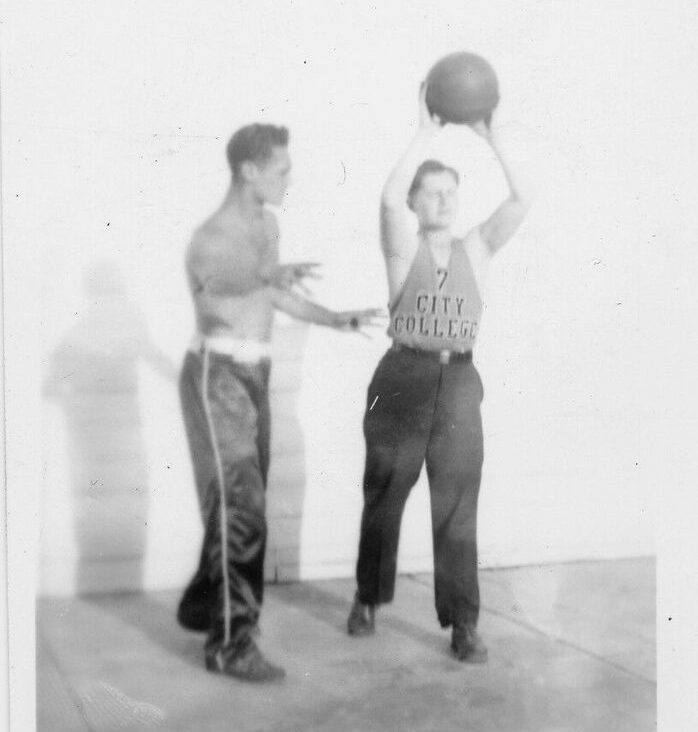 "1930s Scatico: Morris ""Ace"" Goldstein works with Merton Holman on his two-hand, overhead set shot. After playing under Nat Holman at City College from 1935-38, Ace went on to have a 10-year professional career in the era before the founding of the NBA in 1946."