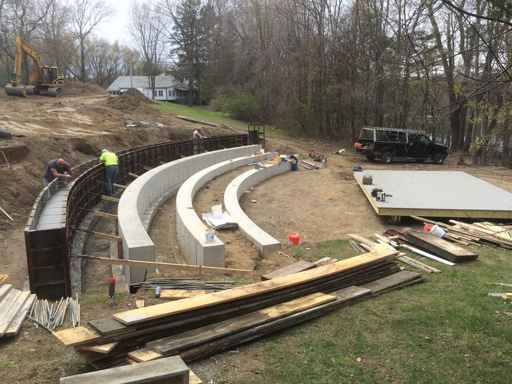 Amphitheater—3 rows down and 4 to go. That's the dining room in the top background.