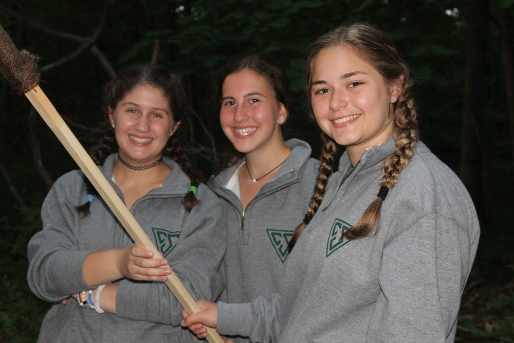Sooper girls get ready to light the opening campfire.