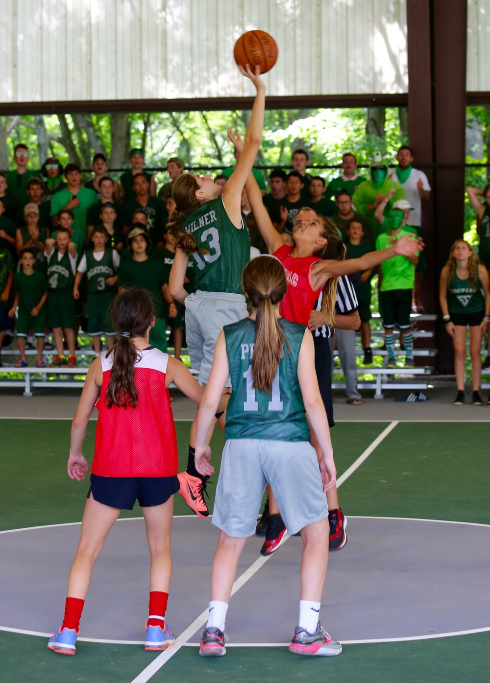 Opening tip of the girls' Nat Holman Basketball Tournament (Kasey showing some hops).
