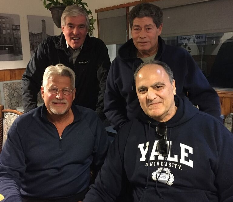 May in Stamford, CT (clockwise from bottom left):  Griff Trow, Steve Hanft, Roger Warren , and  Michael Aronow.  Griff reports that Michael confirmed the story that he and his dad took the Beatles for a speedboat ride in Miami Beach after their 1964 appearance on the Ed Sullivan Show.