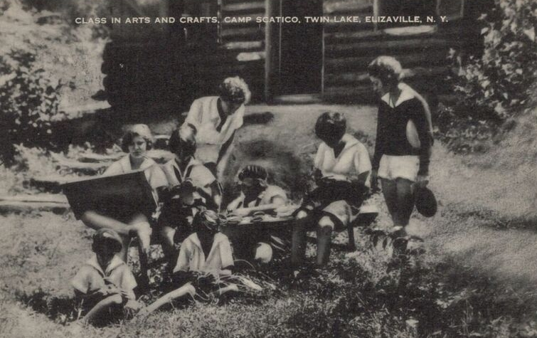 """Class in Arts and Crafts, Camp Scatico, Twin Lake, Elizaville, NY"""