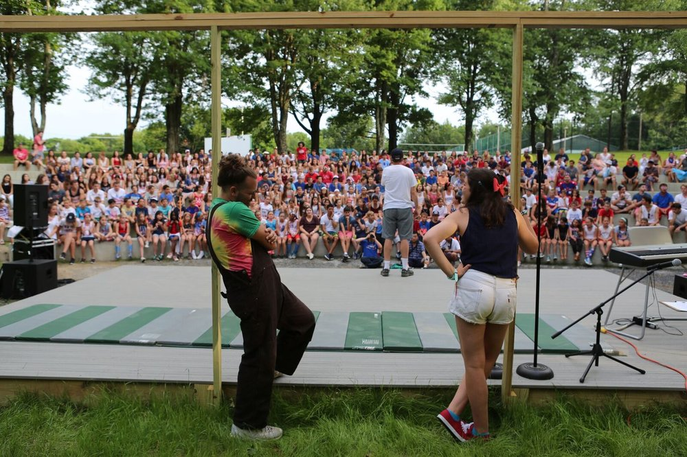 July 4, 2016 —Opening Night at the Amphitheater.  Jake Lisabeth  and  Jane Rosenfeld  (both 2004-16) are ready to host the Talent Show.