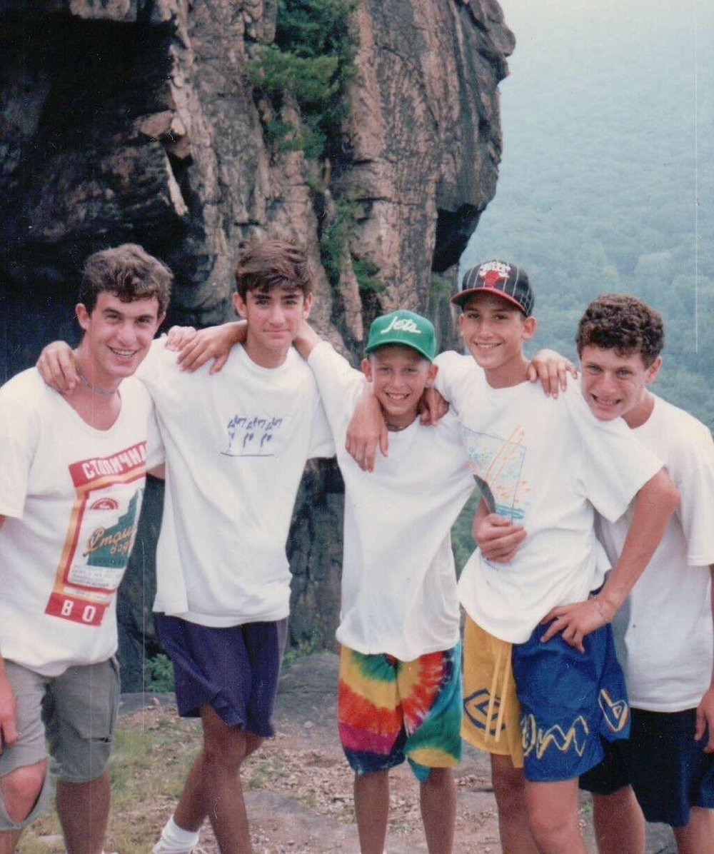 1992 Breakneck Ridge Hike: Boys Head Counselor  Cory Schwartz  (center) with counselors  David Locke  and  Jon Cooper  and bunkmates  Adam Wachtel  and  Jack Abramson.