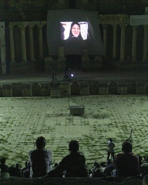 Syria film festival screening in Daraa, Syria Photograph: Courtesy of the festival