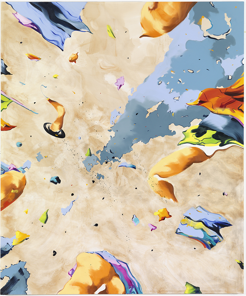 """Fliehkräfte. Was immer im Zentrum des Gemädes  """"2014""""  von Norbert Bisky (Öl auf Leinwand, 300 X 250 cm) wirkt: Es scheint das Bild - vielleicht eine strandstzene - auseinanderdriften zu lassen."""