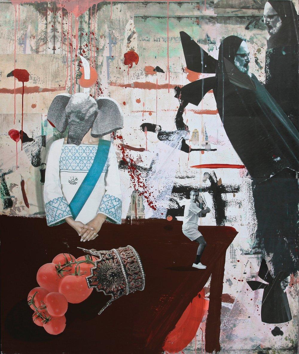 Ramin Haerizadeh, Still Life, King and Queen Tomato, 2011, Papierkollage, Acryl und Tinte auf Leinwand, 170 cm x 140 cm, Courtesy Privatsammlung, München