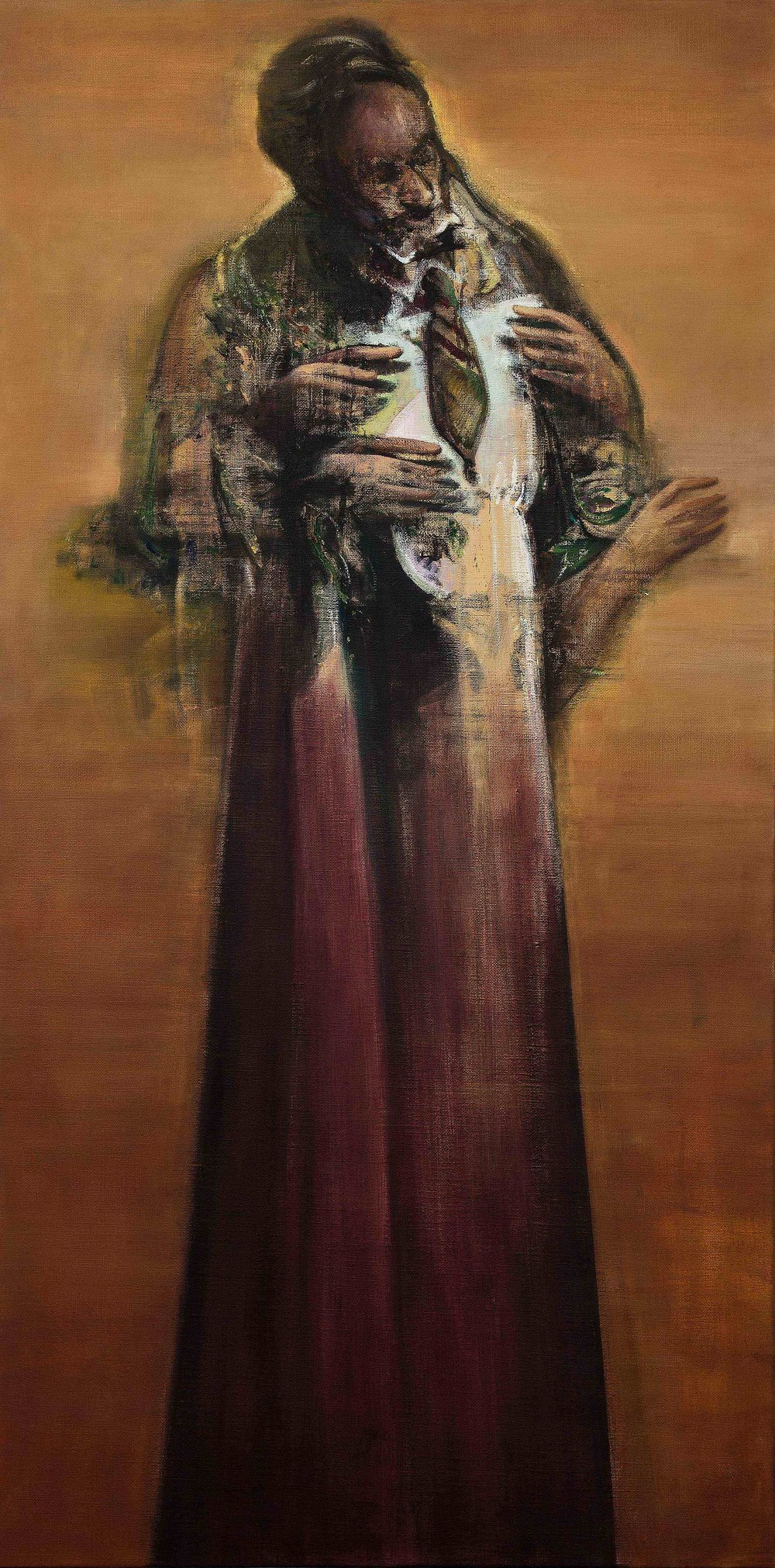 Nikos Aslanidis, The Orator (Alchemist), 2016, oil on linen, 200 x 100 cm