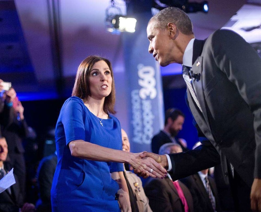 Pictured: Taya Kyle and President Obama / Credit: newstalk1400.us