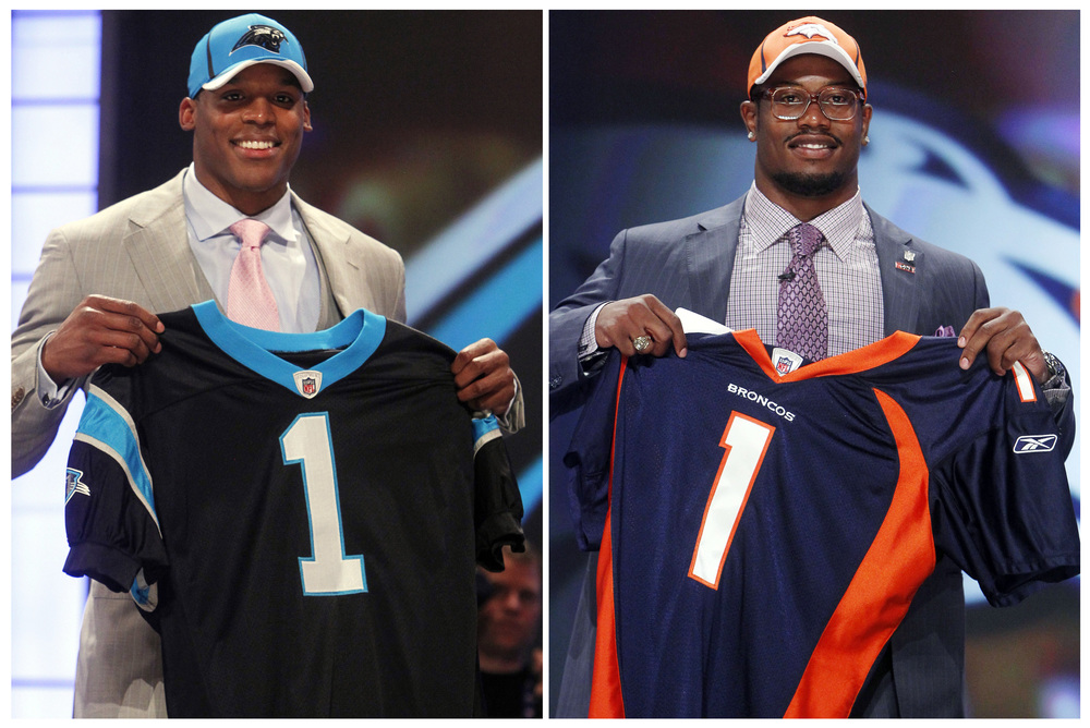 Pictured: Cam Newton (left), Von Miller (Right) Credit: Star Tribune