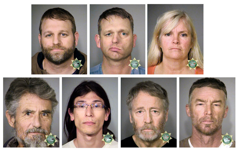 Clockwise from top left, Ammon Bundy, Ryan Bundy, Shawna Cox, Jeff Banta, Kenneth Medenbach, David Lee Fry and Neil Wampler.   Credit: Multnomah County Sheriff