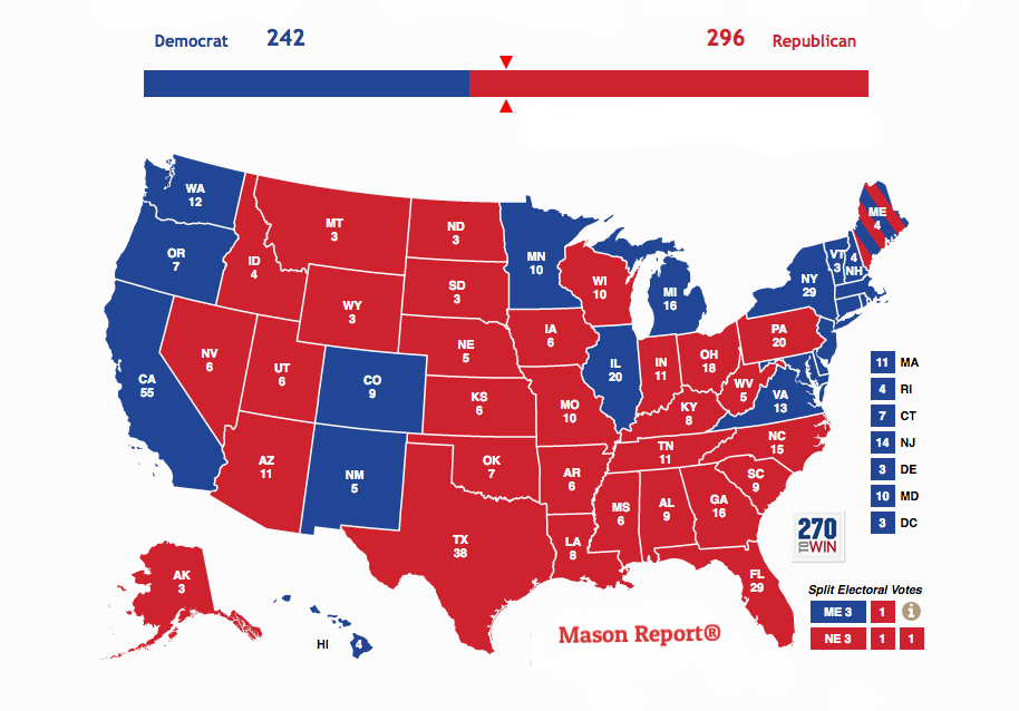 Mason Report® 2016 Presidential Election Prediction Map, Create your own map using 270towin.com