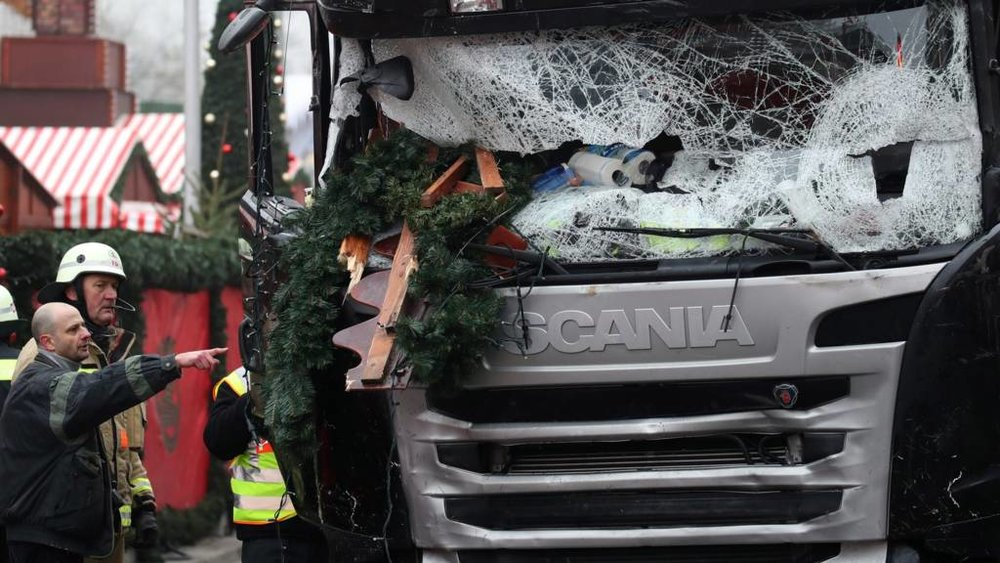 Image of the truck used to carry out the Berlin Christmas market attack that killed 12 people. Credit: BBC