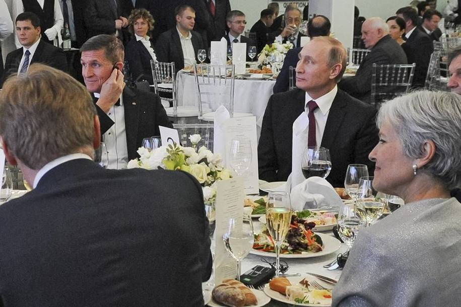 Flynn was a speaker and distinguished guest of Vladimir Putin at this 2015 gala dinner to celebrate Russian propaganda news organization RT.