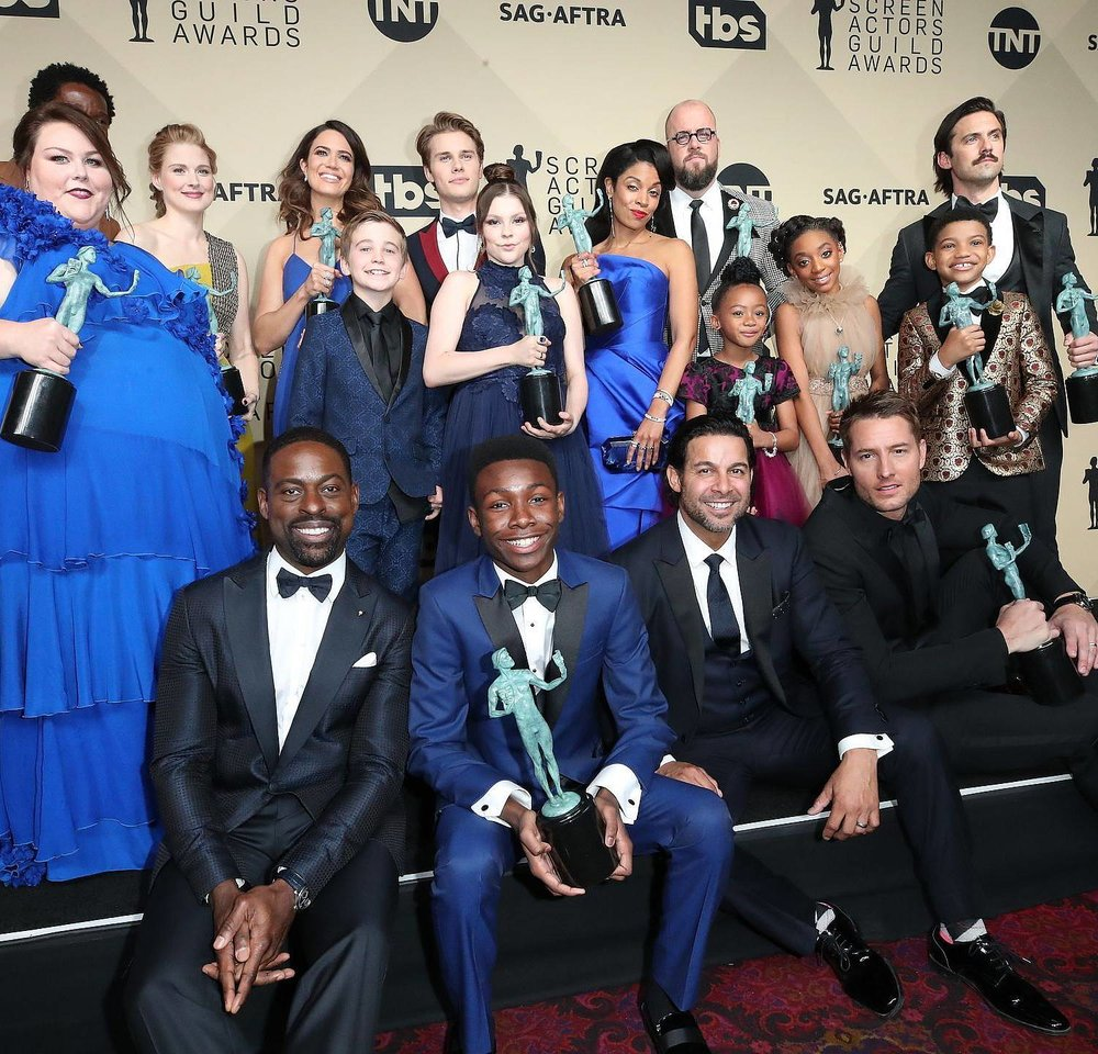 "Cast of ""This Is Us"" after receiving award for Outstanding Performance by an Ensemble in a Drama Series. Credit: Dan MacMedan/USA TODAY"
