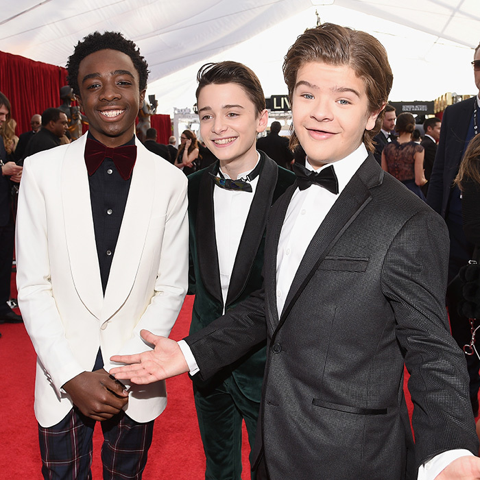 "Cast members from the hit television drama ""Stranger Things"" on the red carpet. Getty Images"