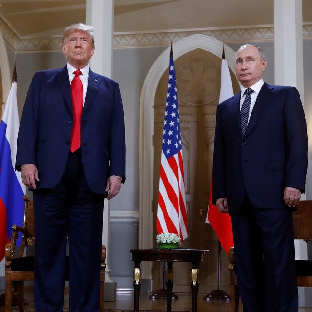 Donald Trump (left) and Vladimir Putin at the summit in Helsinki, Finland Credit: BBC