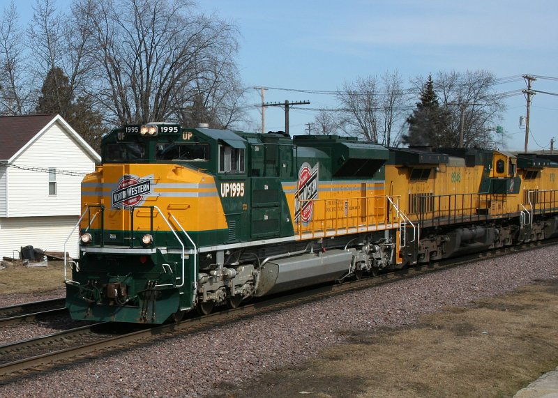 """Union Pacific """"Heritage"""" engine 1995 showing original C&NW livery and emblem. As seen at Rochelle, IL train museum."""