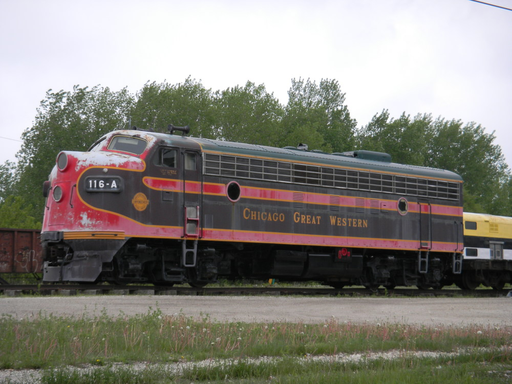 Chicago Great Western engine 116-A on display in Oelwein, IA with 1968 paint scheme prior to merger with C&NW.