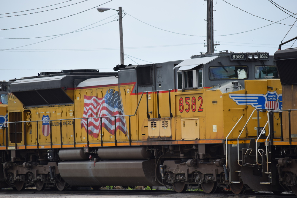 """Union Pacific engine 8582 at the Shortline Yard with the """"Flags and Flares"""" paint scheme, including UP shield and wings on nose. Photo circa 2015."""