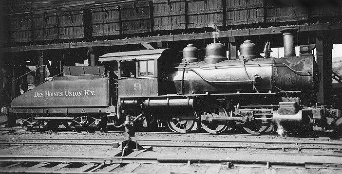 DMUR Engine 9, steam locomotive, sitting in the Union Yard. Circa 1934.