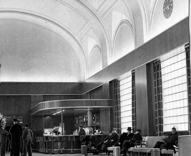 Waiting inside the depot. Photo circa 1941.