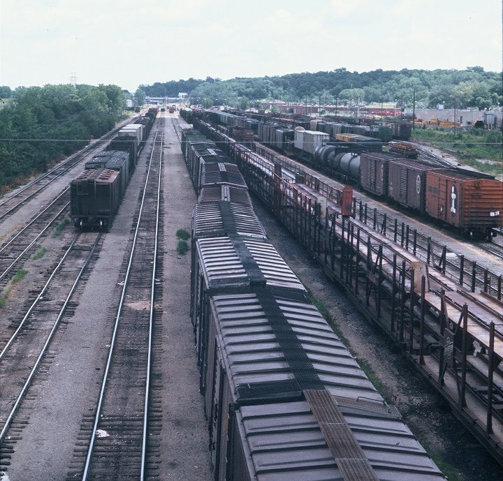 CGW rail yard only a few years after purchase by the C&NW. Photo was taken from the Fleur Drive bridge looking east,circa 1970s.