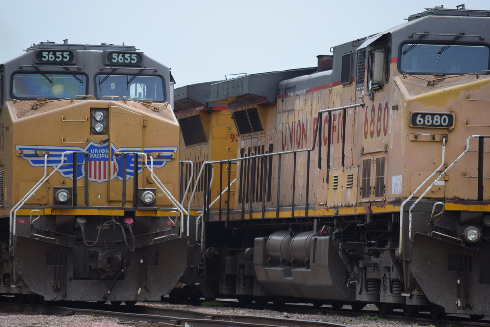 Union Pacific Railroad engines 5655 and 6880 parked in the Shortline Yard. Photo taken 06/08/15.