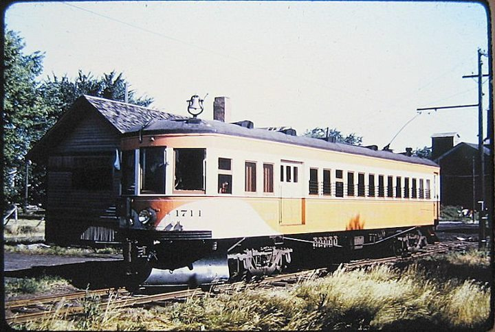 DM&CI Interurban passenger car 1711 shortly before all passenger services stopped. Photo circa late 1940's.