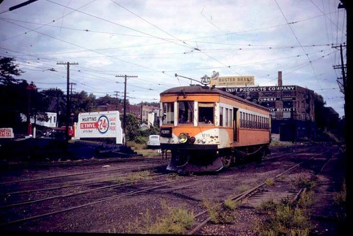 DM&CI car 1710, returning after its final run to Perry. View is looking north toward 2nd Ave just North of Grand Ave. Photo circa 1949.