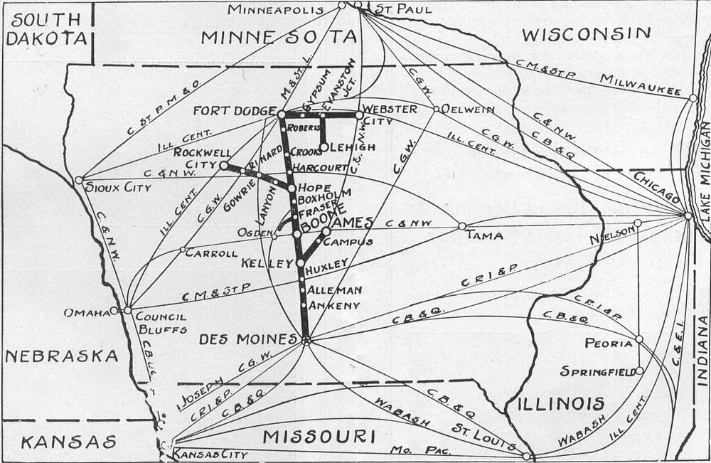 FDDM&S Timetable map, showing an interesting if not highly inaccurate scale, which puts Des Moines at the bottom of the state and Fort Dodge near the MN border. Circa 1943.