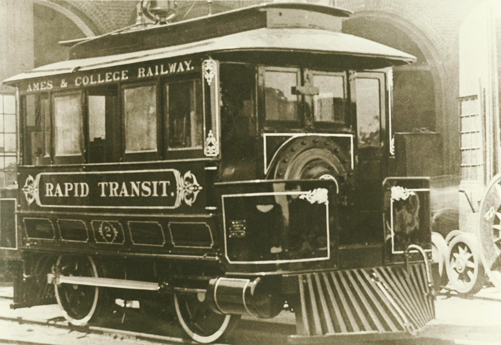 """Ames & College Railway Rapid Transit """"Dinky"""" steam engine. This service was purchased by the FDDM&S, photo circa early 1900's."""
