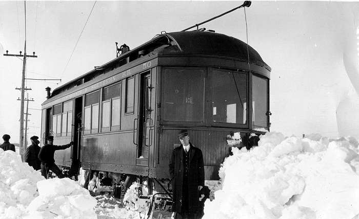 FDDM&S, Passenger Car 50, derailed near Rockwell Citydue to snow covered tracks. The conductor was AP Butts. Photo takenJan 20, 1912.