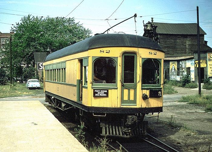 FDDM&S passenger car 82, parked in Des Moines. toward the end of its life. Photo circa1953.
