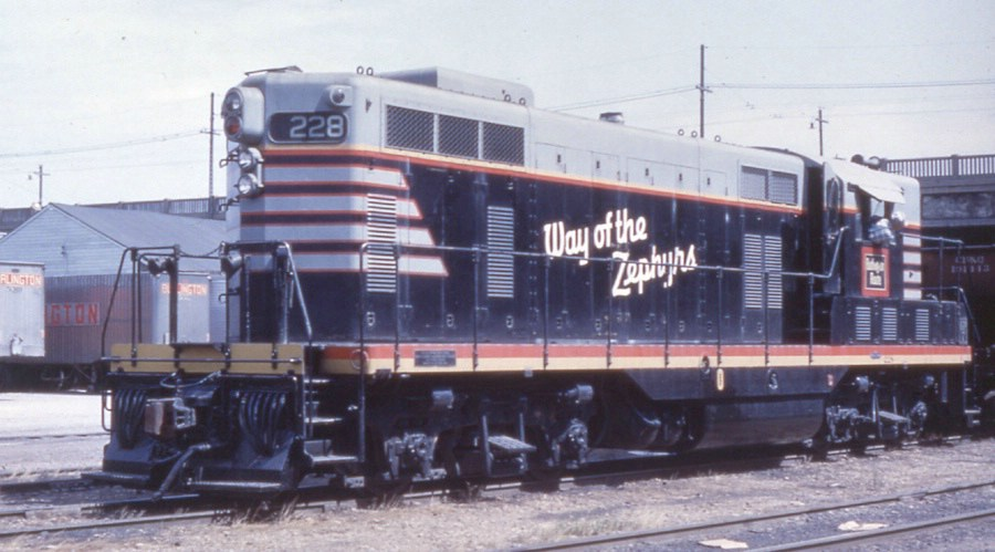 CB&Q Engine 228 working out of the DMUR Yard. Photo 1958.