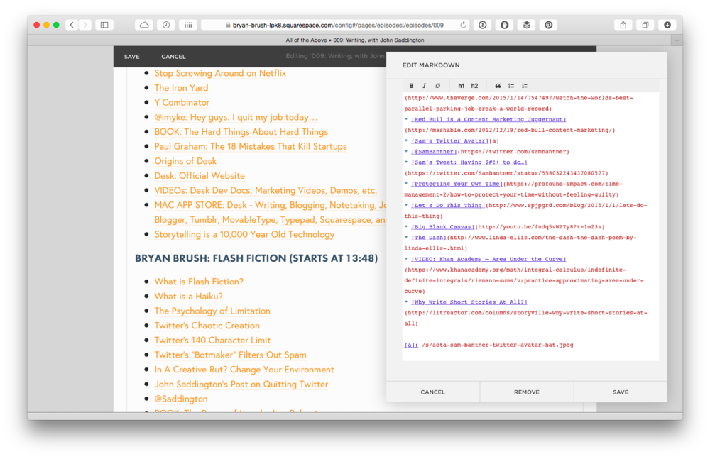 Squarespace's Markdown Editor