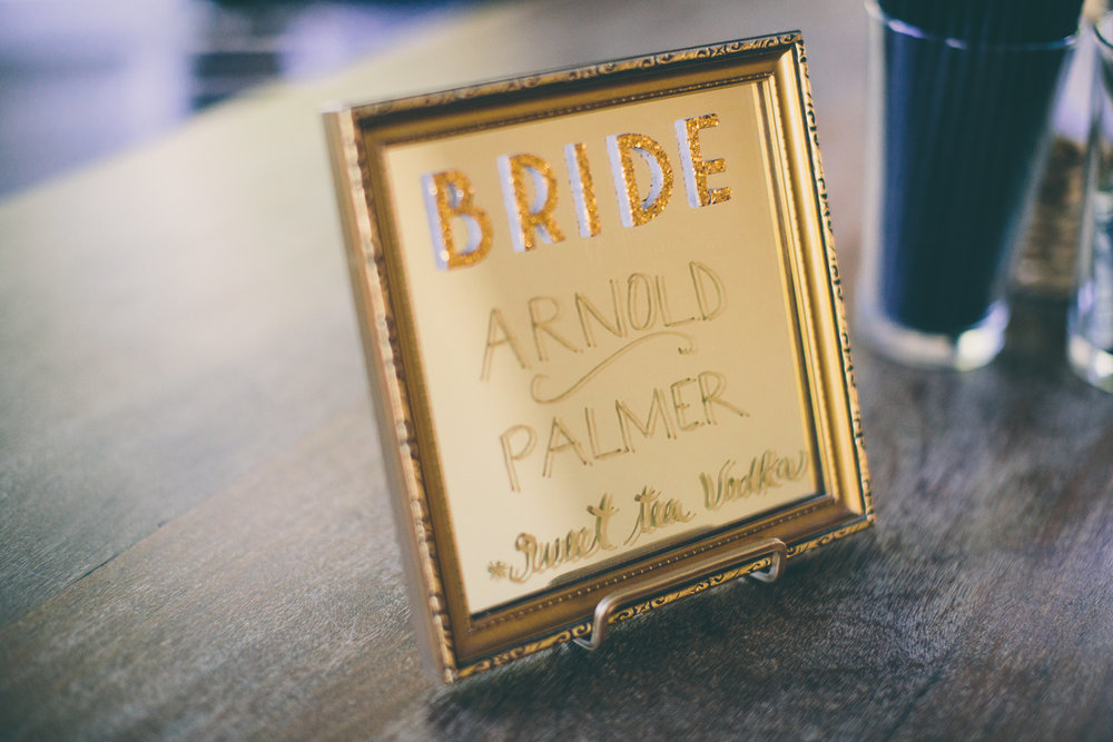 Bride's custom cocktail sign.