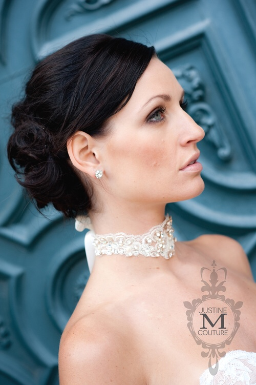 DENISE MULTIPURPOSE PIECE  Close out sale price $150.00 (regular price $315.00)   Authentic Alencon French lace encrusted lightly with swarovski navettes and pearls, adjustable ribbon tie.