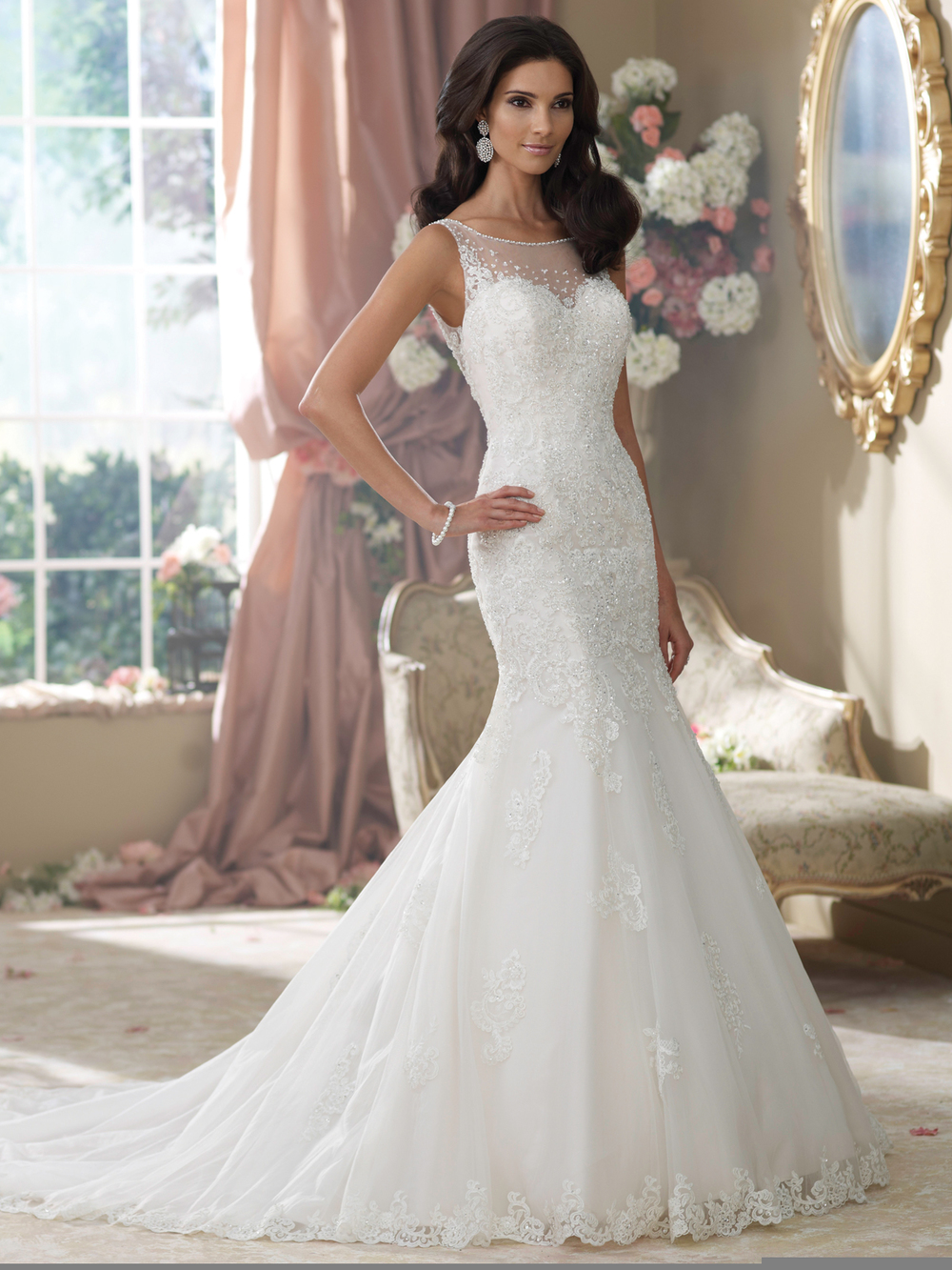 The Bridal Showroom  carries beautiful designer bridal gowns like these by David Tutera.
