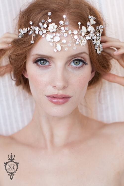 The Ocean Confetti piece worn as a dazzling and fresh (and very on trend ) head band.