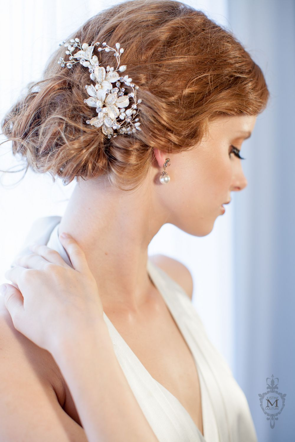 best selling hair pieces — justine m couture bridal veils, jewelry