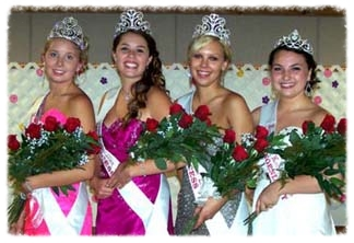 Montgomery's ambassadors for 2012 are (from left) Queen Chelsey Skluzacek, First Princess Bailey Anne Gare, Second Princess Kayla Malecha, and Miss Congeniality Alyssa Bergs