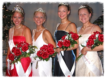 Montgomery's Kolacky Royalty 2002. From left: Queen Debbie Jindra, First Princess Ashley Vlasak, Second Princess Alyssa Herzog and Miss Congeniality Sarah Vlasak.