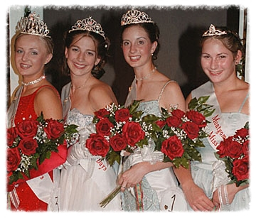 Montgomery's Kolacky Royalty 2001. From left: Queen Meghan Petricka, First Princess Vicki Worm, Second Princess Ann Washa and Miss Congeniality Gail Kukacka.