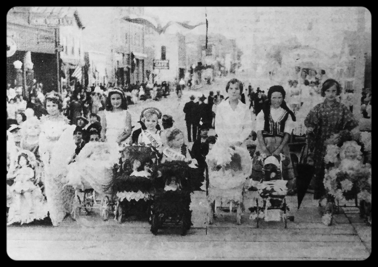 1932 Doll Buggy Parade: Malecka, Unknown, Patricia McKeon, Mary Ellen & Tatty Keohen, Joan Lebens, Mary Stewart, & Ardelle Franke