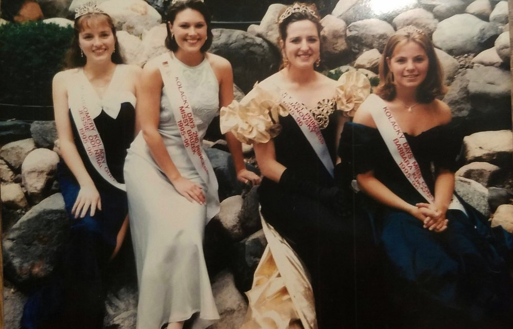 1995 Kolacky Days Royalty. From Left: Queen Jessica Odenthal, Second Princess Missy Bruzek, First Princess Janovsky, and Miss Congeniality Barbara Kukacka