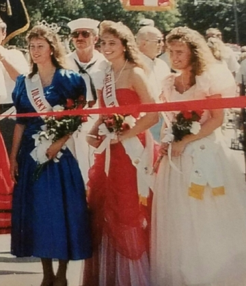 The 1990 Kolacky Days Royalty includes Queen Sheila Nesmoe, First Princess Melissa Sery, and Second Princess and Miss Congeniality Kristine Tupy